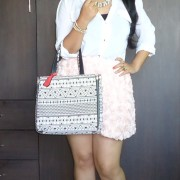 OOTD: Pink Roses Skirt, Lavie 4D Bag