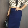 OOTD: Leopard Print Crop Top, Navy Blue Pencil Skirt, Indian Fashion Blog