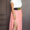 OOTD: Studded White Top, Coral Slit Maxi Skirt, Indian Fashion Blog, Outfit Ideas