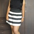 OOTD: Black Sequin Collar Shirt, Black & White Striped Puff Skirt, Indian Fashion Blog