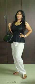 OOTD: Faux Leather Peplum Top, Polka Dots Slouchy Pants, Solester Interchangeable Uppers Flats, Indian Fashion Blog
