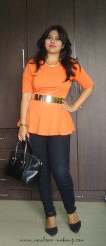 OOTD: Orange Peplum Top and Metallic Gold Belt, Indian Fashion Blog, Outfit Posts, Femella,Dreslily