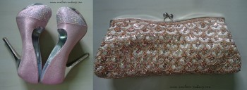 Haul-Pink Rhinestone Pumps,Champagne Clutch, Indian Fashion Blog