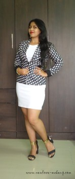 OOTD: Little White Dress, Polka Dots Blazer, Indian Fashion Blog, StalkBuyLove, The Trunk Label, Silvette Jewellery