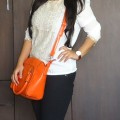 OOTD: Crocodile Print Faux Leather Orange Bag, Dune London Black Studded Pumps, Indian Fashion Blog, Outfit Posts