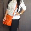 OOTD: Crocodile Print Faux Leather Orange Bag, Dune London Black Studded Pumps, Indian Fashion Blog, Outfit Posts