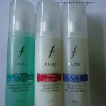 Faces Canada Hydro Range-Makeup Remover,Cleanser,Toner Review