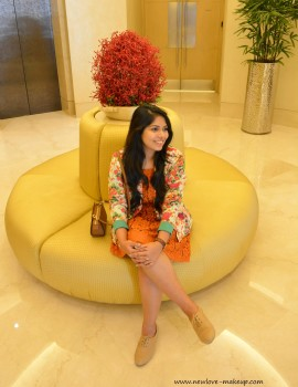 OOTD: Orange Lace Dress, Floral Blazer, Indian Fashion Blog