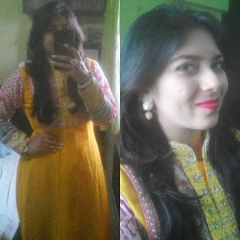 Today wore this mango yellow amp baby pink anarkali withhellip
