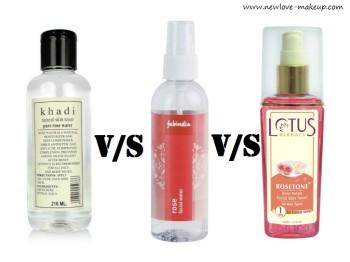 Khadi Rose Water vs Fabindia Rose Water vs Lotus Herbals RoseTone Facial Toner