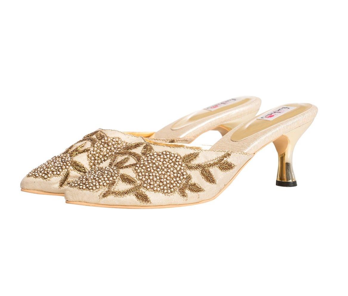 2514ff3d Garden Rose Kitten Heels. Ethnic Accessories and Shoes Online in India,  Jivaana.com, Kolhapuri Wedges Online India