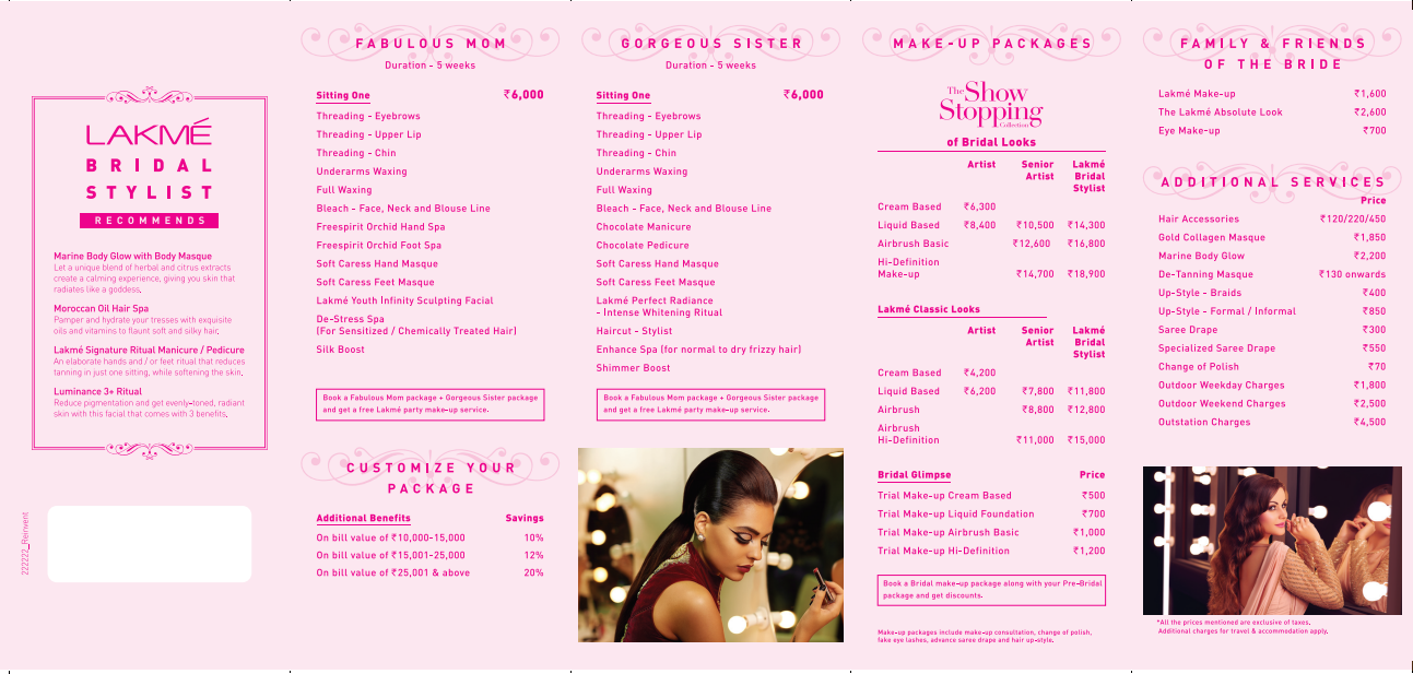 L oreal bridal makeup cost saubhaya makeup for Loreal salon price list